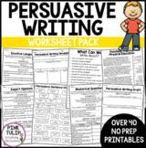 Persuasive Writing Worksheet Pack - No Prep Lesson Ideas