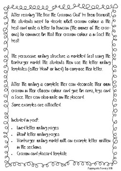 Persuasive Writing Pack: The Day the Crayons Quit