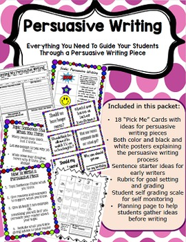 Persuasive Writing Pack- Topic Idea Cards, Posters, Scale and Rubric