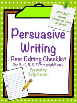 Persuasive Writing Peer Editing Checklist for Grades 2nd - 12th