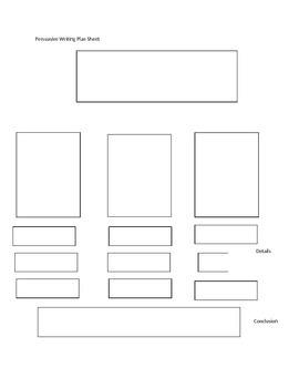 Persuasive Writing Plan Sheet