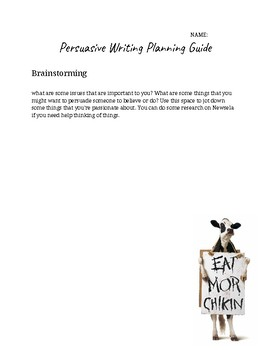 Persuasive Writing Planning Guide