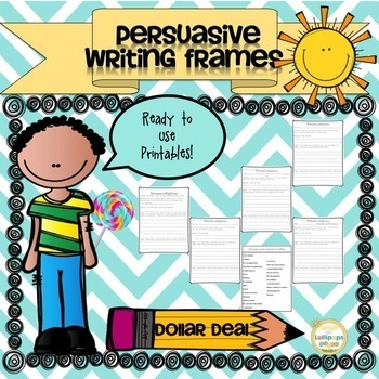 Persuasive Writing BUNDLE Frames,Posters,Checklist and Task Cards for Grades 1-2