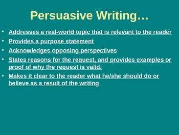 Persuasive Writing Power Point