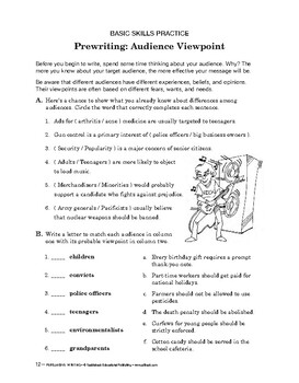 Persuasive Writing: Prewriting: Audience Viewpoint