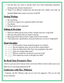 Persuasive Writing Project - Book Advertisement & Essay - Common Core Aligned