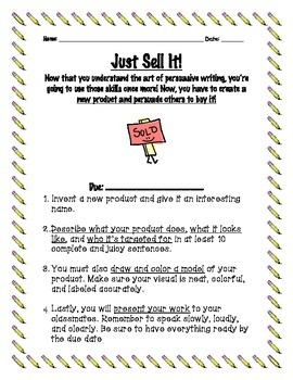 Persuasive Writing Project- Just Sell It