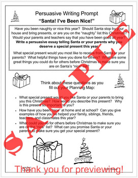 "Persuasive Writing Prompt ""Santa!  I've Been Nice!"""