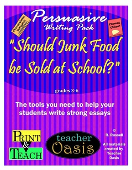 """Persuasive Writing Prompt """"Should Junk Food be Sold at School?"""""""