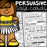 Persuasive Opinion Writing Prompt Task Cards - Black and White Ink Friendly