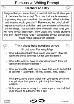 """Persuasive Writing Prompt """"Teacher for a Day"""""""