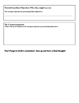 Persuasive Writing Prompt With Graphic Organizer