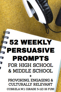 persuasive writing prompts high school  middle school  tpt