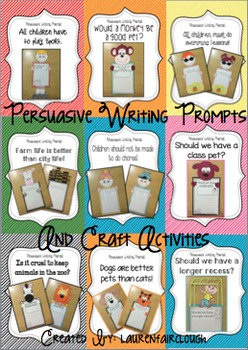 Persuasive Writing Prompts and Craft Activities