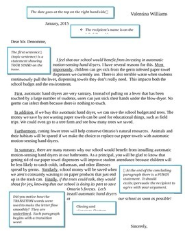 Persuasive Writing Prompts and Letter to Principal Exemplar
