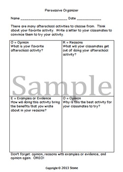 Persuasive Writing Prompts and Organizers