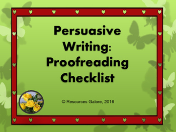 Persuasive Writing: Proofreading Checklist
