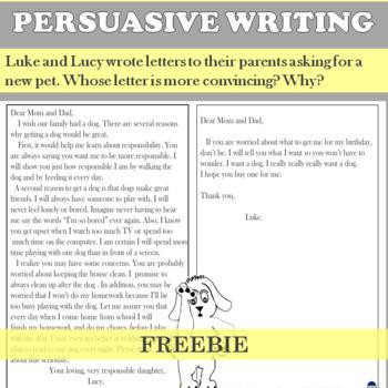 Persuasive Writing Sample Letters (persuasive vs. non-persuasive)