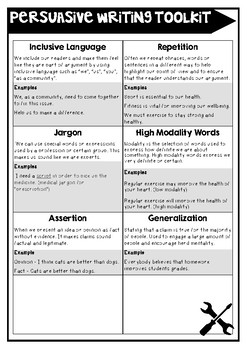 Persuasive Writing Sentence Level Activity Pack