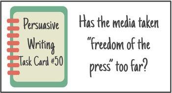 Persuasive Writing & Speaking Task Cards