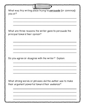 FREEBIE: Persuasive Writing Story with Writing Technique Questions