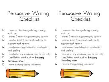 Persuasive Writing Student Checklist