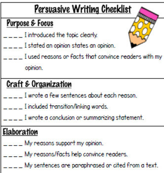 Persuasive Writing Rubric or Checklist