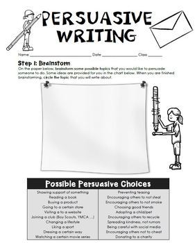 Persuasive Writing Student Template