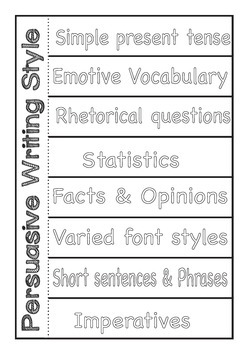 Persuasive Writing Style/Language Features - Charts and Foldable