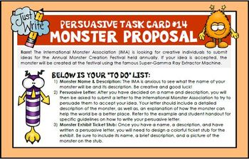 Persuasive Writing Task Cards, Examples, Templates, Rubric, and More