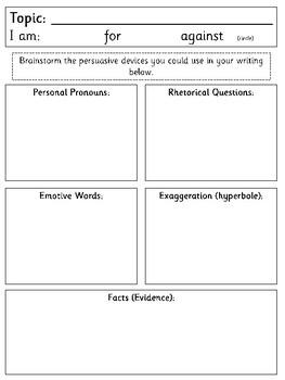 Persuasive Writing Techniques Display + BONUS Planning Sheet