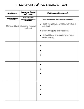 Persuasive Writing Template