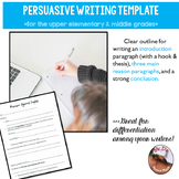 Persuasive Writing Template for Students