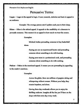 Persuasive Writing Terms, Rubric, and Topics