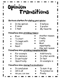 Persuasive Writing Transition Words