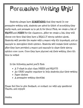 Persuasive Writing Unit 1st Grade