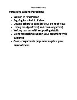 Persuasive Writing Unit Lesson Plans Bundle Writer's Workshop