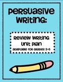Persuasive Writing Unit Plan - Reviews (Writers Workshop - Calkins)