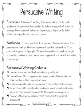 Persuasive Writing Distance Learning-Printable and Digital Versions