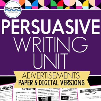 persuasive writing unit writing ads includes graphic organizers