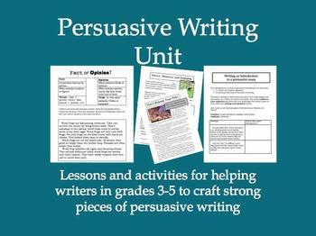 Persuasive Writing Unit for Grades 3 through 5