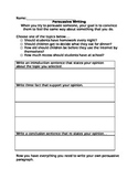 Persuasive Writing Worksheet