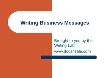 Persuasive Writing - Writing Business Messages