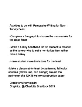 Opinion/Persuasive Writing from a Turkey's Point of View