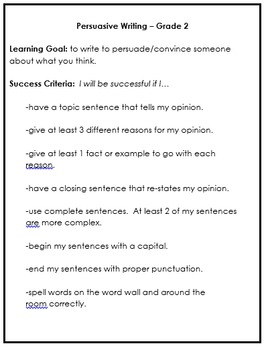 Persuasive Writing in the Primary Grades
