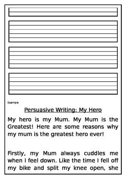 Persuasive Writing levelled worksheets