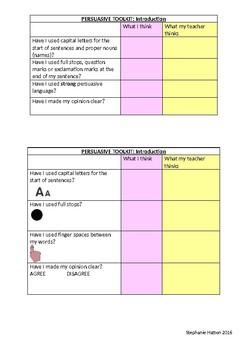 Talk for Writing Persuasive self-assess toolkit- editable