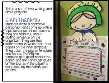 Thanksgiving Writing - Turkey and Pilgrim Craftivities