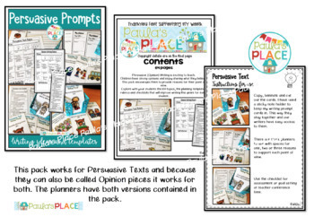 Persuasive and Opinion Writing Prompts Planners Rubrics