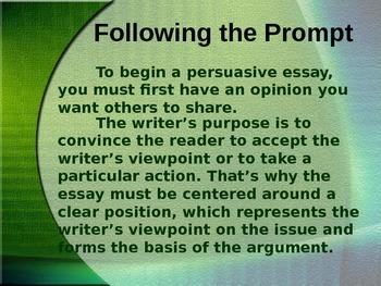 Persuasive essay power point